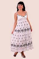 Платье женское,белый сарафан , ( ПЛ 10050), одежда для полной молодежи ,одежда для беременных, хлопок 100%. M-L / 46-48 Белый