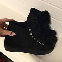 Ботинки с меховым языком черные