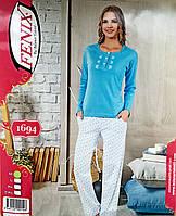 Турецкая  пижама норма штаны и кофточка интерлок