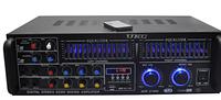 Стерео усилитель звука AMP AV 1900: 2х200 Вт, XLR/RCA/3,5 mini jack/ USB, FM приемник, пульт ДУ