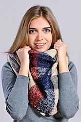 Теплый клетчатый шарф беж/синий/терракот