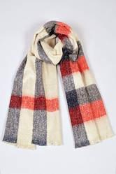Теплый клетчатый шарф молочного цвета