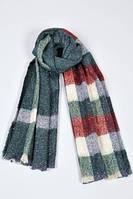 Теплый клетчатый шарф темно-зеленого цвета