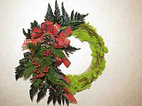 Декоративный венок из стабилизированных растений. Рождественский венок.
