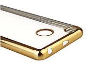 Защитный бампер, накладка для Xiaomi Redmi 3S, 3Pro цвет прозрачный/золотистый