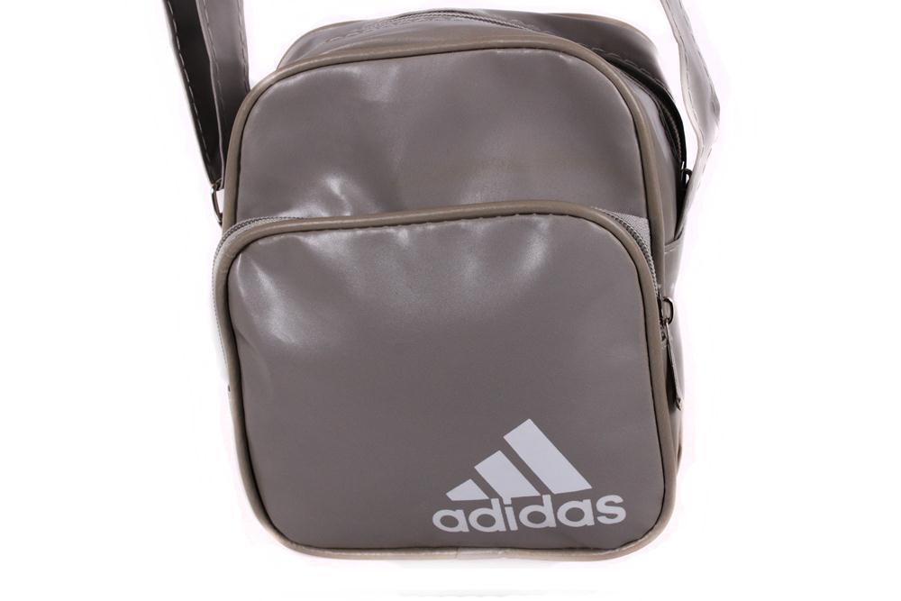 Спортивная сумка Adidas лакированная через плечо серая