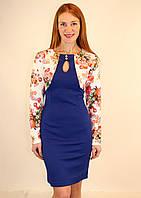 Платье футляр нарядное с цветочным болеро 44-50 р