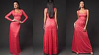 Длинное платье в пол гипюровое с болеро цвет красный