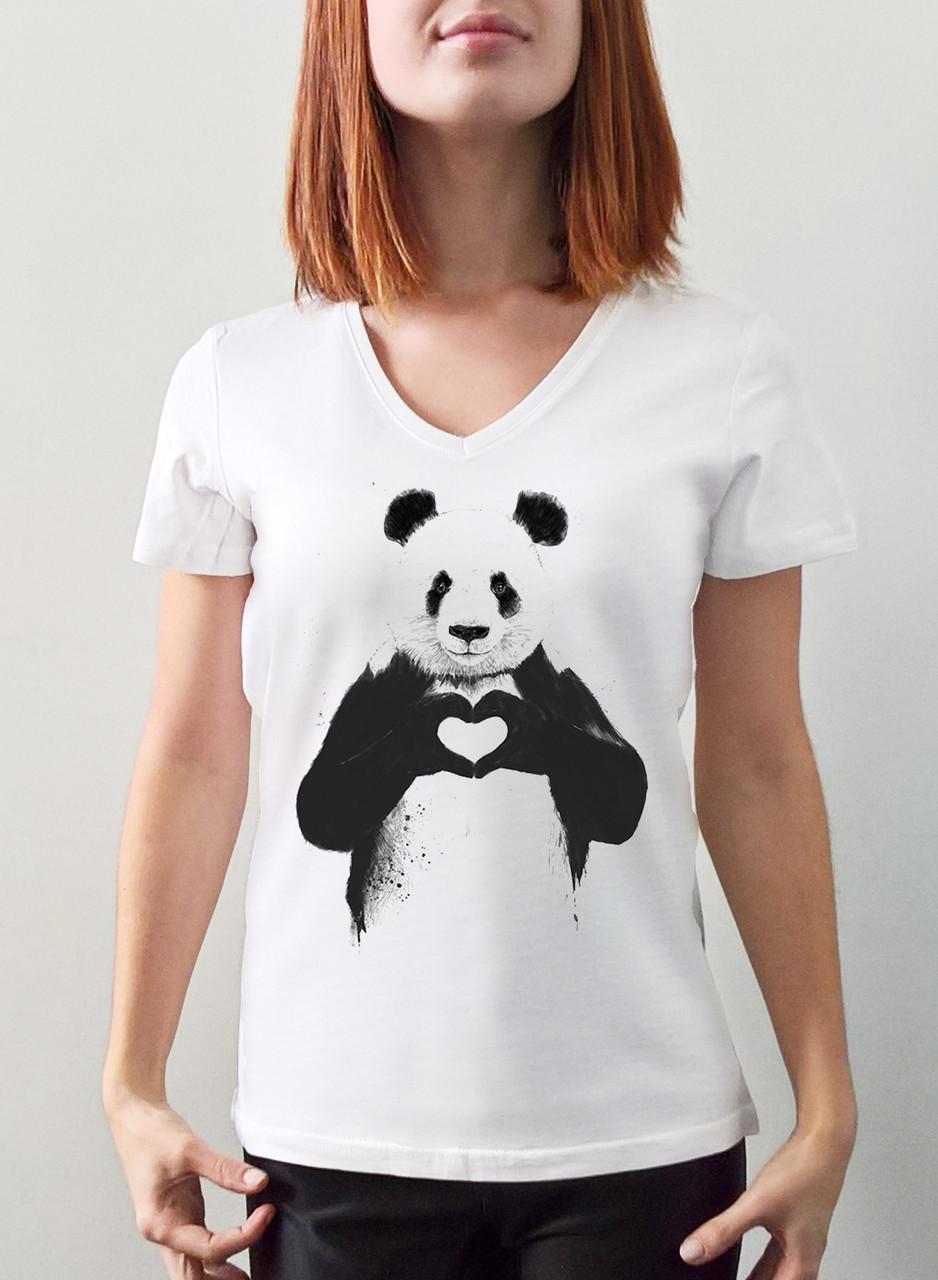 "Женская футболка ""Панда сердце"""