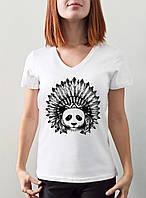 "Женская футболка ""Панда индеец"""