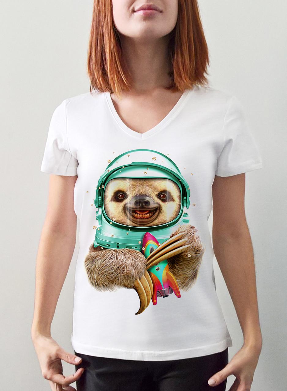 """Женская футболка """"Ленивец космонавт"""""""