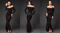 Красивое бархатное платье в пол с открытыми плечами цвет черный