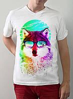 """Мужская футболка """"Волк в очках"""""""