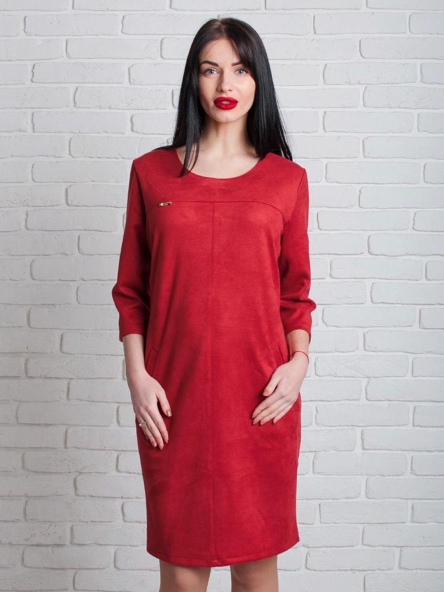 Бордовое платье из замша