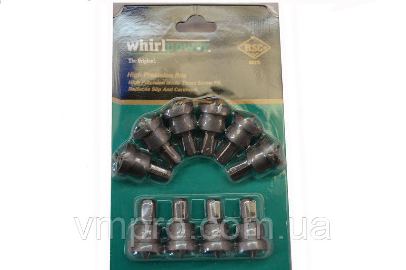 Биты для гипсокартона с ограничителем WhirlPower 25 мм 10 штук/набор (блистер)