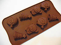 Форма силикон для конфет Новогодний набор2