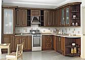 Угловая кухня на заказ темная классика, изготовление вариант-009