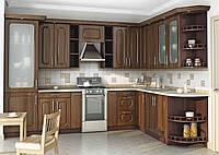Угловая кухня на заказ темная классика вариант-009