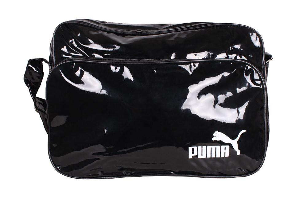 Спортивная сумка PUMA лакированная через плечо формат а4 черная