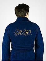 Мужской синий махровый халат с вышивкой