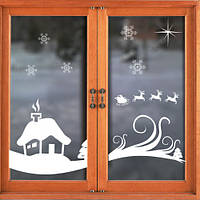 Интерьерная новогодняя наклейка Зимний дом (наклейки на стекла, на окна, самоклеющаяся пленка, декор