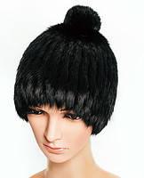 Вязаная шапка из меха кролика с помпоном утепленная