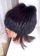 Вязаная шапка из меха кролика Кошка