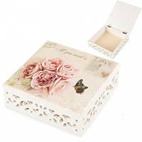 Деревянная коробочка для хранения мелочей (17*17*6 cм)