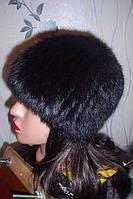 Вязаная шапка из меха кролика черная