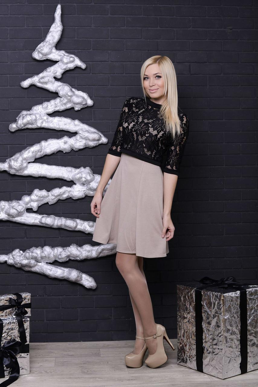 Платье с болеро беж+черный