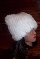 Вязаная шапка из меха кролика белая с ушками
