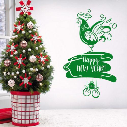 Интерьерная наклейка Новогодний петушок  (декор стен, наклейки на обои, стены, окна, офисы)