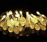 Светодиодная гирлянда на солнечной энергии Хрустальная капля желтая 50 LED, фото 4