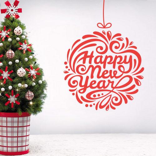 Интерьерная новогодняя наклейка Новогодний шар (виниловая самоклеющаяся пленка, декор для стен, окон