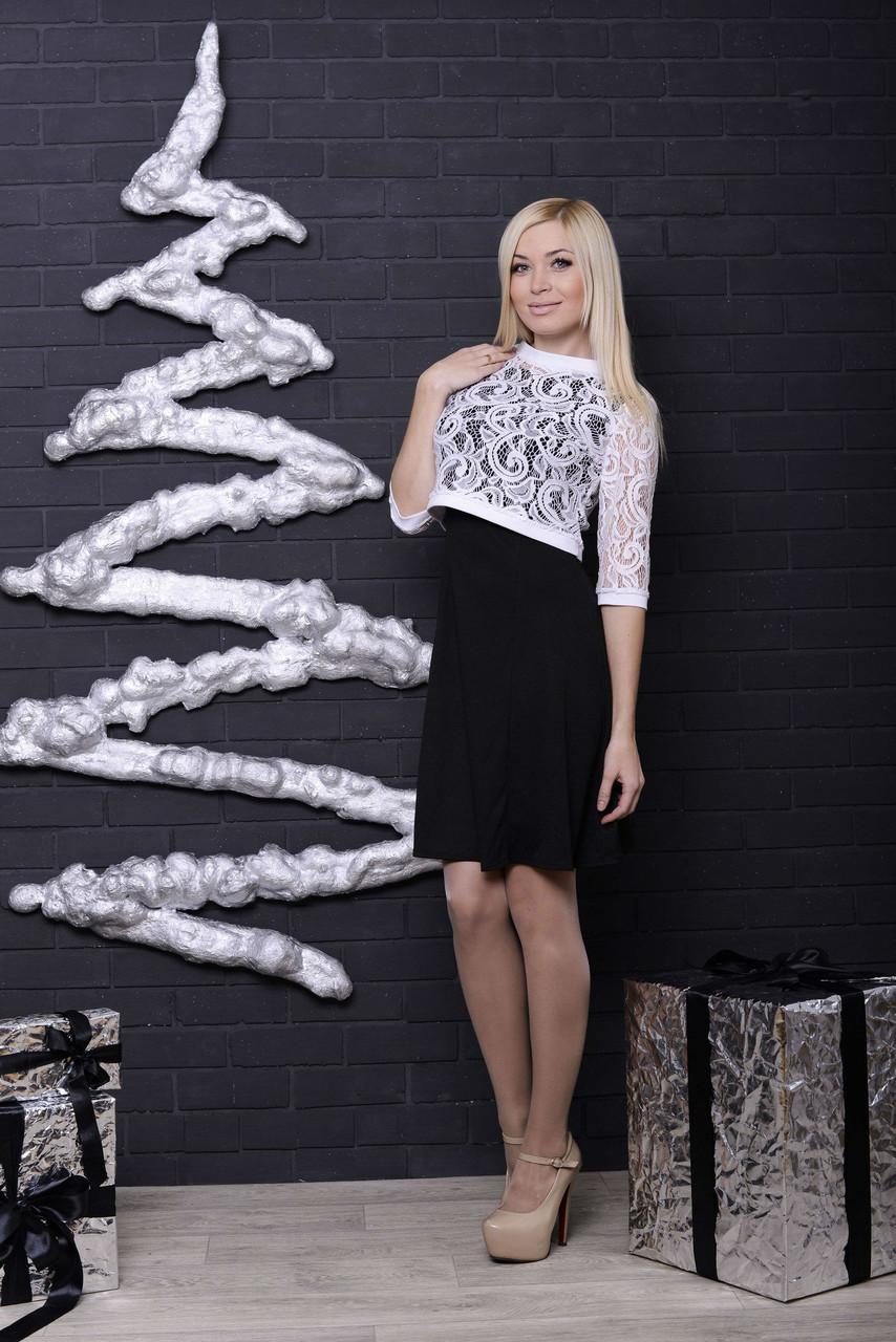 Платье с болеро черный+белый