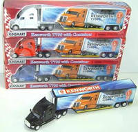 "Модель трейлер 13"" KT1302W KENWORTH T700 WITH CONTAINER метал.инерц.откр.дв.и прицеп1:68кор.ш.к./48/"