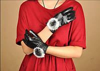 Перчатки женские кож зам кофейные с мехом