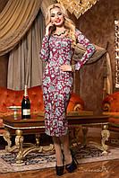 Молодежное приталенное платье цвет бордовый/серый принт в виде роз