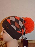 Шапка женская Ромб с помпоном оранжевая 4025-o