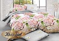 """Комплект постельного белья двуспальный евро """"Розовый бутон""""."""