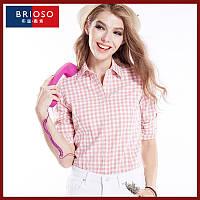 Рубашка женская в клетку с длинным рукавом. Brioso. Розово-белая.