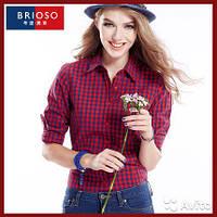 Рубашка женская в клетку с длинным рукавом. Brioso. Красно-Синяя.