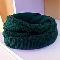 Стильный теплый вязанный женский шарф-хомут снуд с двойным типом вьязки зеленого цвета
