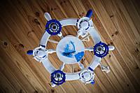 Люстра штурвал белая с синим на 6 лампочек, фото 1