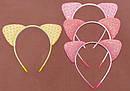 Обруч для волос с блестящими ушками розовый, фото 2