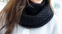 Стильный теплый женский шарф-хомут снуд с двойным типом вьязки черного цвета