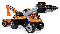 Оригинал. Трактор Педальный с Прицепом и двумя Ковшами Builder Max Smoby 710110