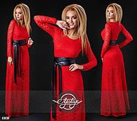 Вечернее  красное гипюровое платье в пол с кожаным поясом. Арт-9308/41