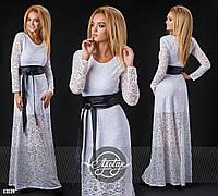 Вечернее  белое  гипюровое платье в пол с кожаным поясом. Арт-9308/41