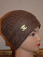 Шапка женская Косы Chanel коричневая 3535-2-br